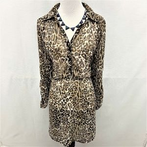 Pinky Cheetah See-through Shirt Dress Size L